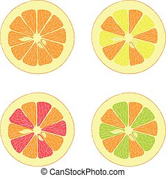 Lemon, lime, orange, pink grapefruit