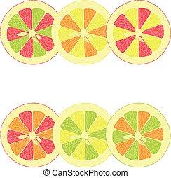 Lemon, lime, orange, pink grapefruit