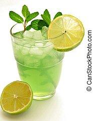 Lemon-lime soda isolated on white background