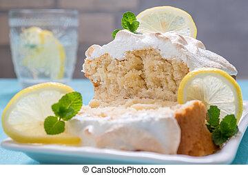 Lemon Loaf Sliced Closeup - Lemon Loaf with meringue topped...