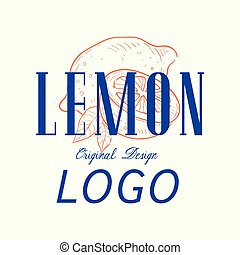 Lemon logo original design, retro emblem for shop, cafe, restaurant, cooking business, brand identity vector Illustration on a white background