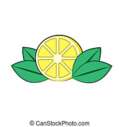 lemon logo with leaves on a white isolated background. Vector image