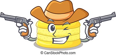 Lemon macaron Cowboy cartoon concept having guns