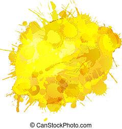 Lemon made of colorful splashes on white background