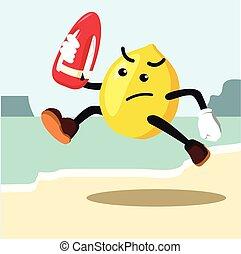 lemon man the lifeguard colorful