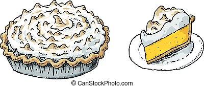 A cartoon lemon meringue pie and a slice on a plate.