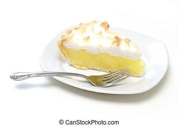 An isolated slice of lemon meringue pie.
