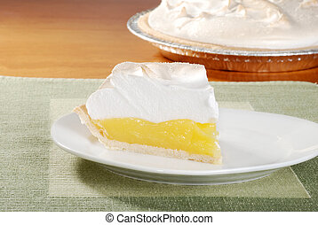 lemon meringue pie green placemat - closeup lemon meringue...