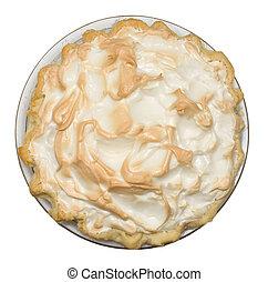 Lemon meringue pie on white background