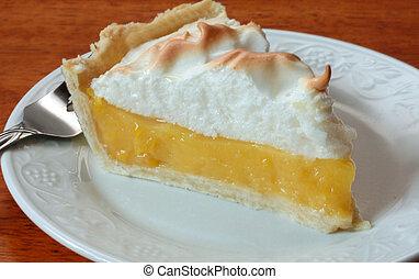 Slice of lemon meringue pie on a white dessert plate