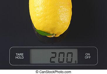 Lemon on kitchen scale