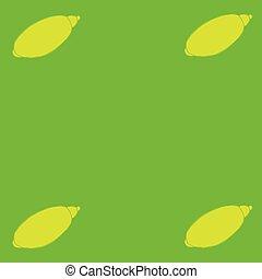Lemon on the green background