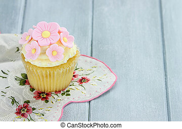 Lemon or Vanilla Flavored Cupcake - Pretty yellow and pink...