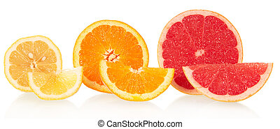 Lemon, orange and grapefruit in a cross-section isolated on ...