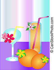lemon, orange on the plate and drin