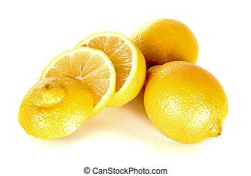 lemon over white - group three yellow lemons on white...