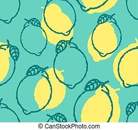 lemon pattern seamless. lime background. Hand drawing fruit ornament