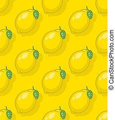 Lemon pattern seamless. Yellow fruit background. Baby fabric texture
