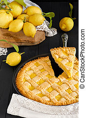 Lemon Pie And Fresh Lemons