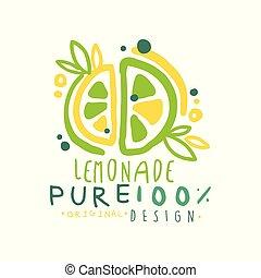 Lemon pure 100 percent original design logo, natural healthy product badge, fresh citrus beverage colorful hand drawn vector Illustration