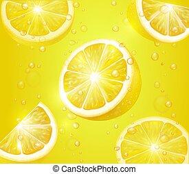 Lemon realistic background. Lemonade with lemon slices and bubbles