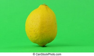 Lemon rotates on green background. Chroma key background