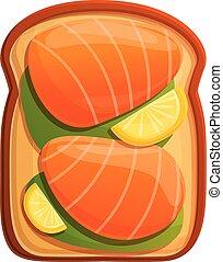 Lemon salmon toast icon, cartoon style