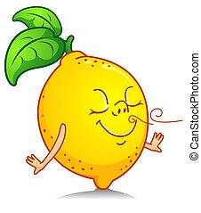 Lemon Scent - Illustration of a Lemon Character Inhaling his...