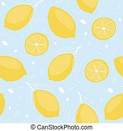 Lemon seamless pattern. Fruit summer background