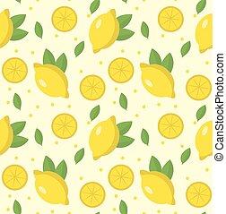 Lemon seamless pattern. Lemonade endless background, texture. Fruits background. Vector illustration.