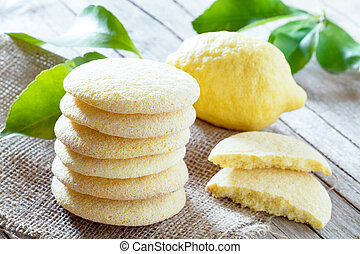 Lemon Shortbread Cookies - Homemade bakery products: stack ...