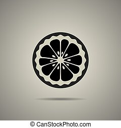 lemon slice icon in flat style with black and white colors, ...