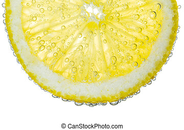Lemon Slice in Clear Fizzy Water Bubble Background Isolated
