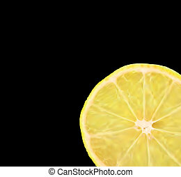 Lemon slice, isolated on black. Vector