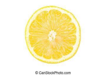 Lemon slice isolated on the white background