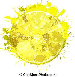 Lemon slice made of colorful splashes on white background