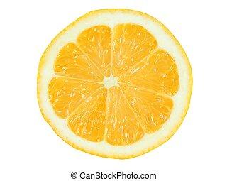 Lemon slice on white