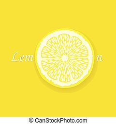 Lemon slice on yellow background with text