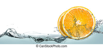 Lemon slices in the water.