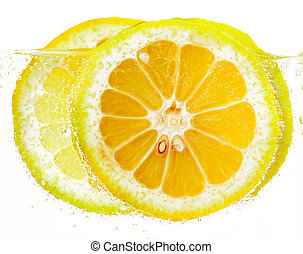 lemon slices in vesicles isolated white background