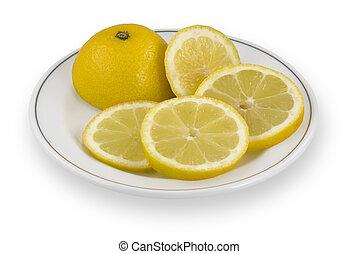 Lemon slices on plate
