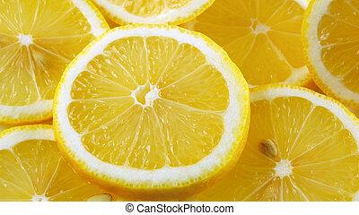 Lemon slices background, close-up