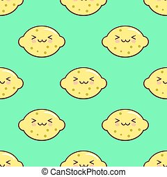 Lemon smiley kawaii cartoon character seamless pattern on green background. Flat design Vector Illustration