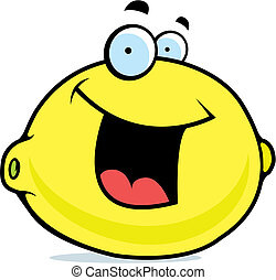 Lemon Smiling - A cartoon yellow lemon smiling and happy.