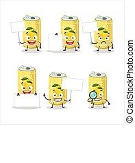 Lemon soda can cartoon character bring information board