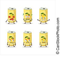 Lemon soda can cartoon character with nope expression
