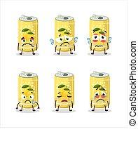 Lemon soda can cartoon character with sad expression