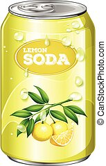Lemon soda in aluminum can