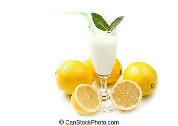 lemon sorbet on white background