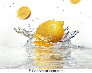 lemon splashing into clear water on white background.